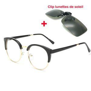 LUNETTES DE VUE Ronde glasses Monture de lunettes+Clip lunettes de