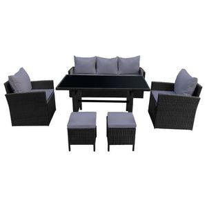 Ensemble table et chaise de jardin Salon de jardin AJACCIO en résine tressée noir 7 p