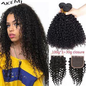 PERRUQUE - POSTICHE 3 tissage Kinky Curly Bundles de 100g-p cheveux br