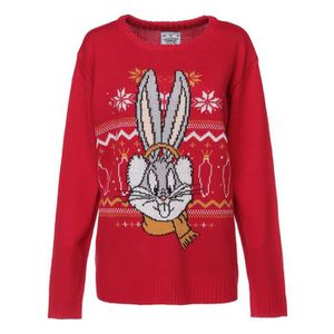 PULL LOONEY TUNES Pull de Noël Bugs Bunny Rouge Femme
