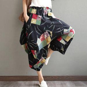 PANTALON Femmes Casual taille élastique Coton et lin Imprim