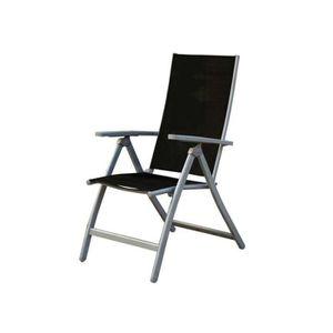 SALON DE JARDIN  Fauteuil multi-positions Textilène/Aluminium Gris/