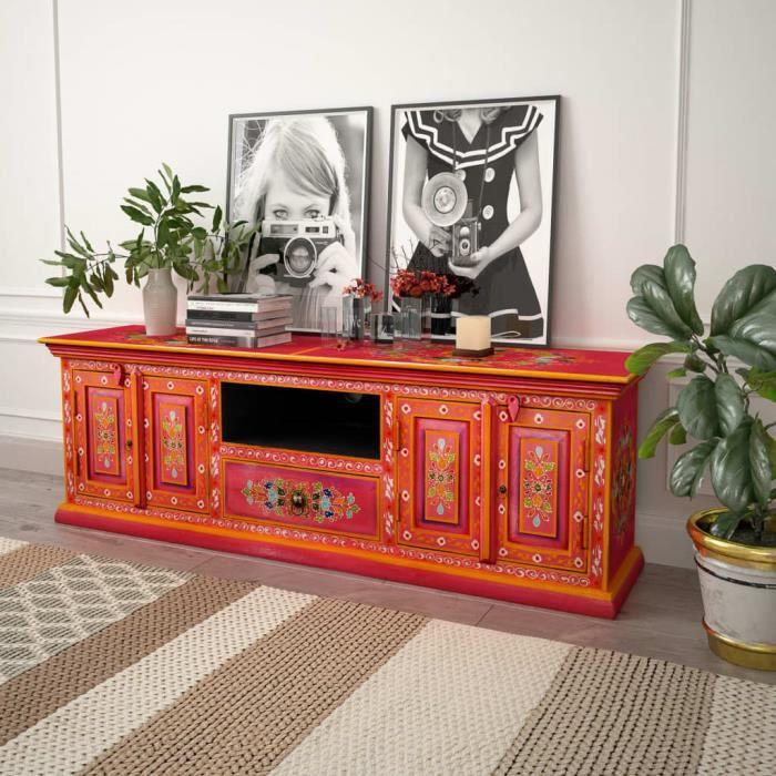 BOS Meuble TV Bois de manguier massif Rose Peint à la main 120 x 30 x 40 cm multicolore