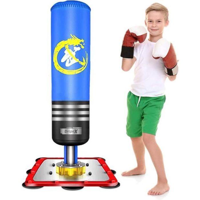 Sac de frappe sur pied boxing Punching Ball enfant 120cm - Bleu