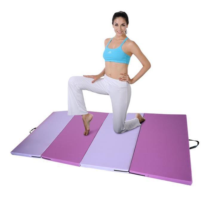 YIS Tapis de Gymnastique Pliable Matelas de Fitness Portable Natte de Gym pour Fitness,Yoga, Sport - Violet / Rose 240 x 120 x 5 cm