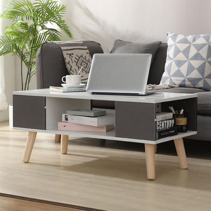 Table Basse Scandinave Table Basse Blanche et Grise de Café pieds en bois en style scandinave