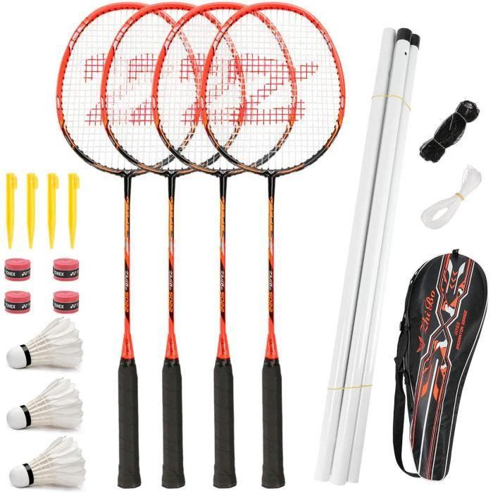Fostoy Set de Badminton, Raquettes de Badminton avec 4 Raquettes de Badminton et 3 Volants,Ensemble Complet de Badminton Extérieur a