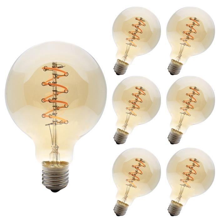 6 Pack E27 Ampoule de Edison G95 Ampoule Retro 4W Dimmable LED Vintage 400LM Jaune Chaud 2200K Lampe Edison AC220V
