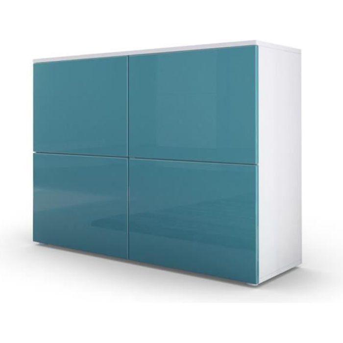Commode design avec le corps mat blanc et façade laquée blanche et turquoise