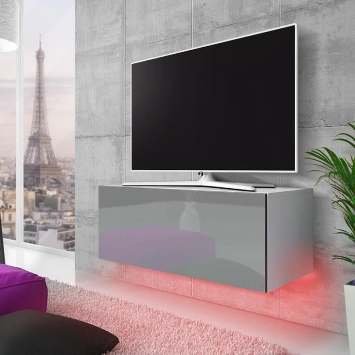 Meuble TV / Meuble de salon suspendu - LANA - 100 cm - blanc mat / gris brillant - éclairage RBG multicolore - style moderne