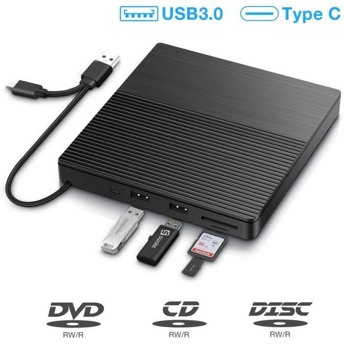 Lecteur CD/DVD Externe, Graveur DVD/CD Externe USB 3.0 et Type-C, Ports USB, Slot SD/TF, Ultra-Mince Portable, External Drives pour