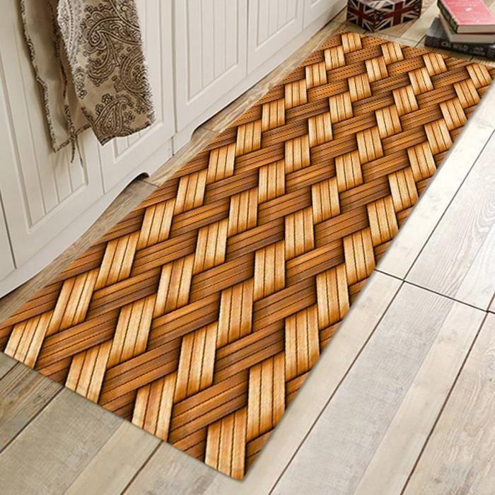 YOSOO tapis de sol antidérapant Tapis de porte à motif de tissage en bambou Tapis de sol absorbant antidérapant pour salle de