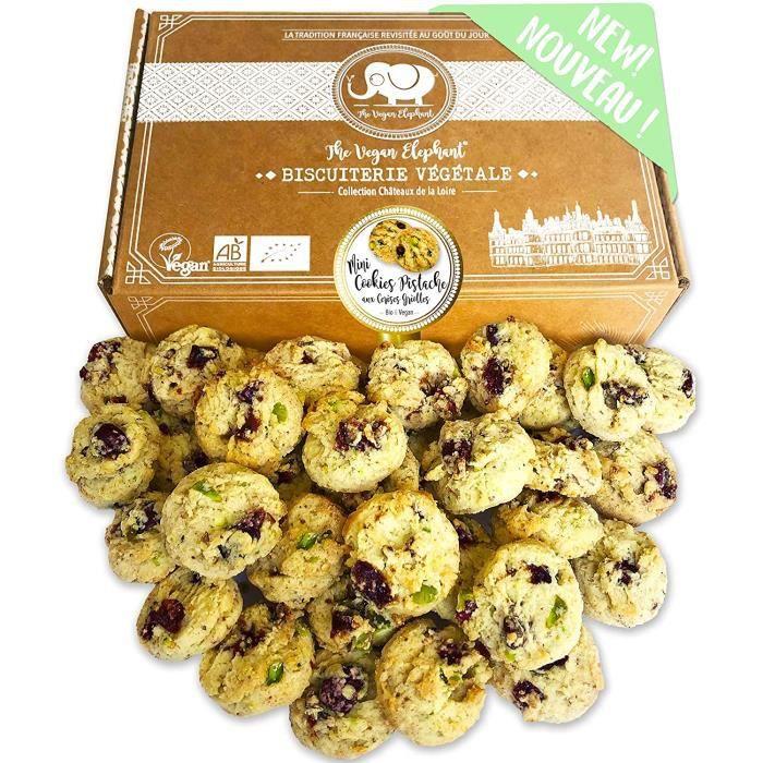 Mini Cookies Bio & Vegan Pistache aux Cerises Griottes Fabrication Française et Artisanale. 300g