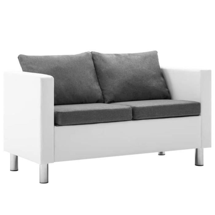 Canapé à 2 places Faux cuir Blanc et gris clair HB056