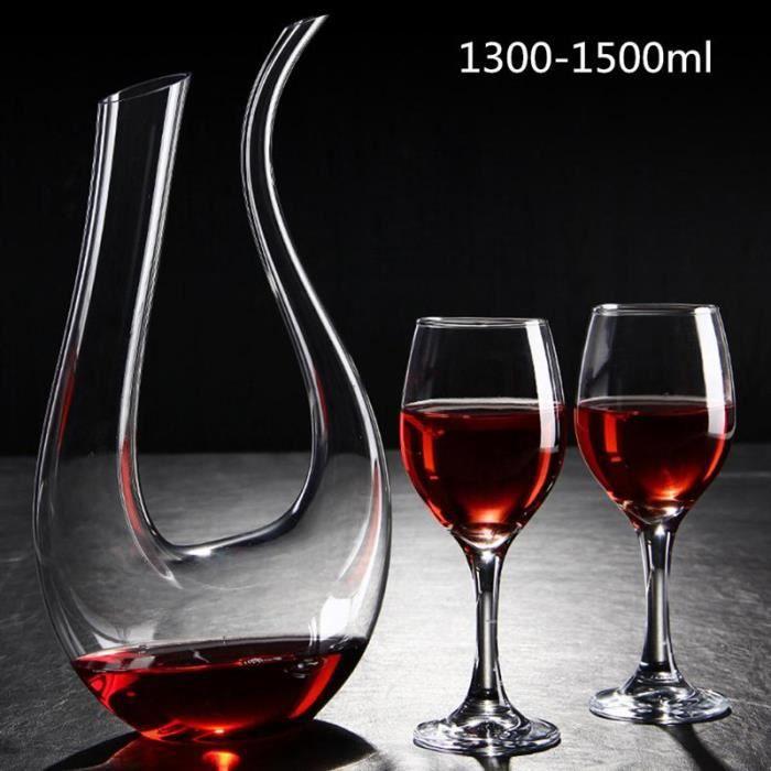 Carafes vin,U forme sans plomb Premium cristal verre Carafe à vin cristal clair aérateur de vin verre Carafe à vin Grade B (1300