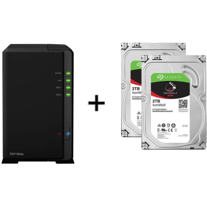 Serveur Stockage (NAS) - DS218play - 2 Baies + 2 disque dur interne - NAS Iron Wolf - 2To - 5 900 tr/min - 3.5- (ST2000VN004)