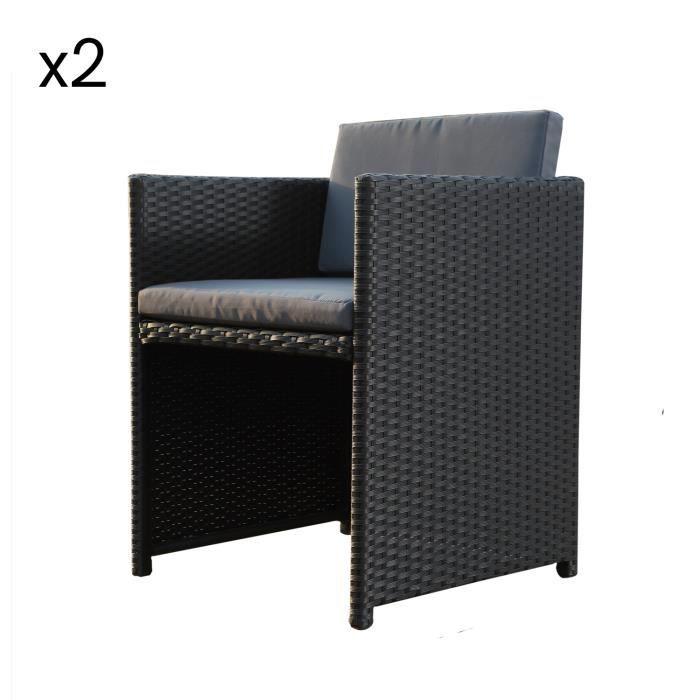 Lot de 2 chaises en résine tressée Miami noir-gris
