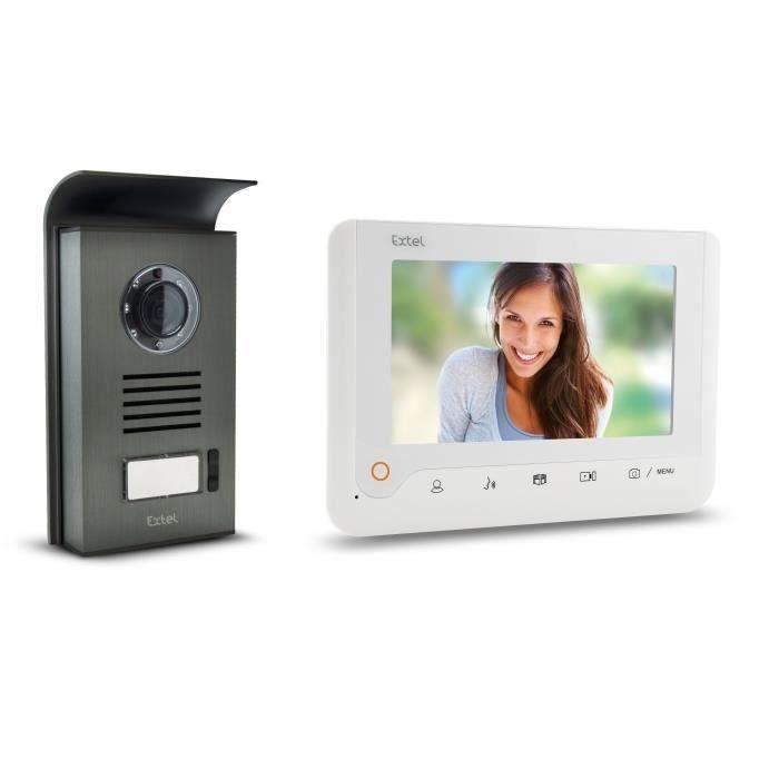 EXTEL Visiophone Nova 2 fils blanc avec écran couleur 7- à mémoire de passage