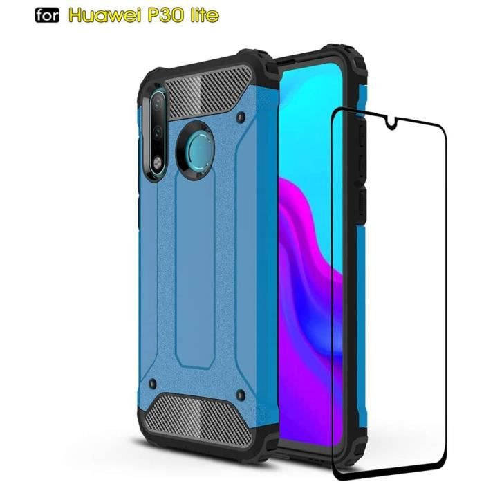 Coque Huawei P30 Lite, Hard PC Soft TPU 2 en 1 360° Armure de Protection Résistant aux Chocs Résistant aux Rayures + Verre tNB