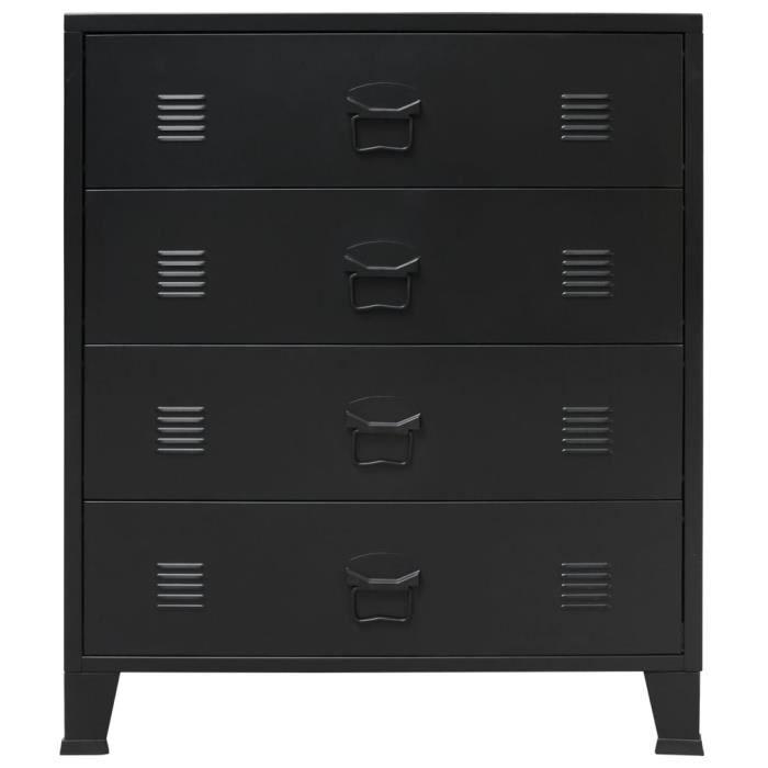 CEN Commode à tiroirs Métal Style Industriel 72 x 34 x 18 cm Commodes Noir 9375305507884