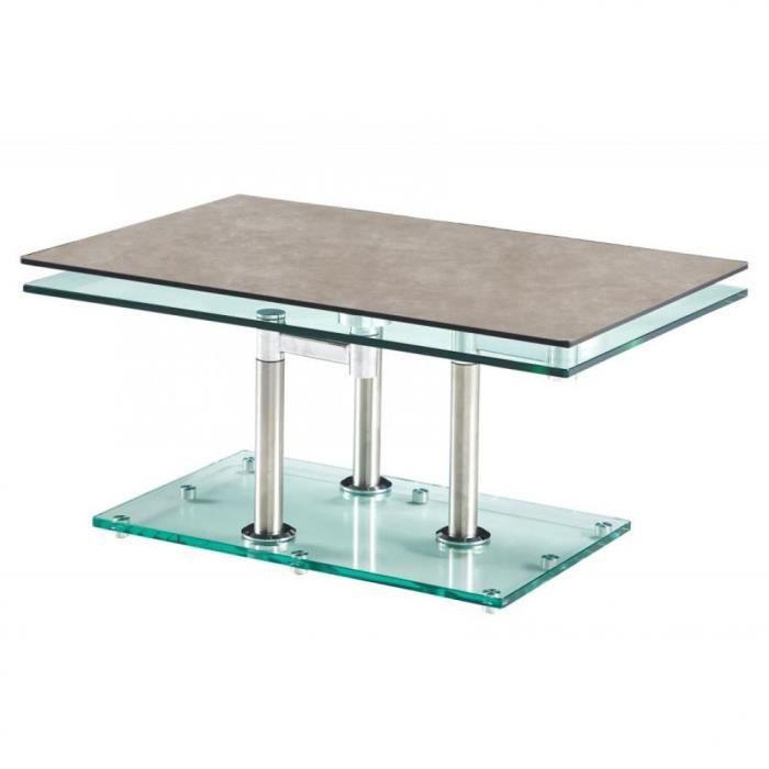 Table basse MATCH CERAMIQUE GREY 2 plateaux pivotants en verre piétement chrome gris Ceramique Inside75