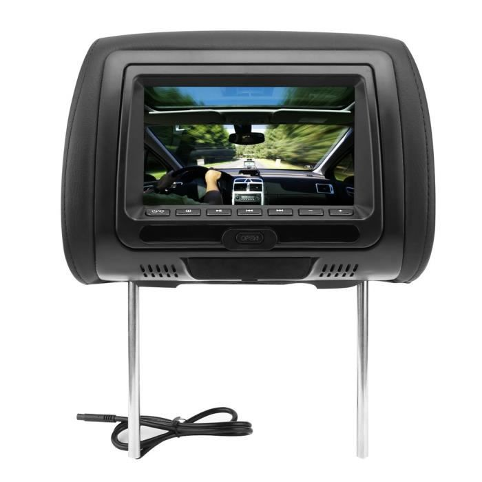 Universel 7- Appui-tête Lecteur DVD de voiture - USB - HDMI Moniteurs avec les haut-parleurs Disc Games--NOIR