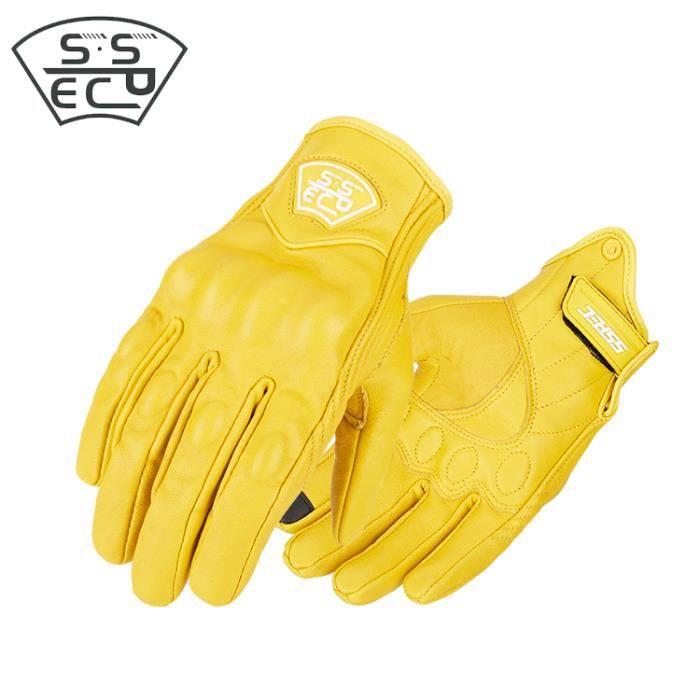 Gants de moto,Vintage moto gants en cuir conduite course équitation moto montagne vélo gant Motocross en cuir véritable jaune gant