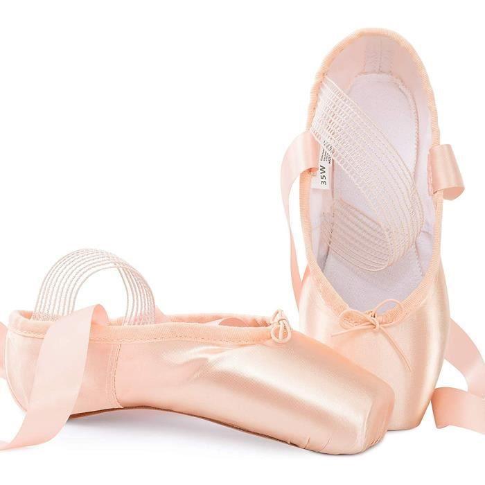 chausson de danse classique pointe chaussures de ballet satin rose avec élastique bande et protège-orteils pour ballerines fille f