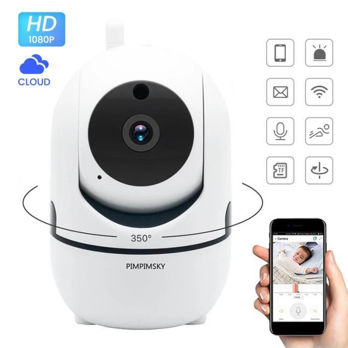 Babyphone vidéo Wi-Fi caméra Caméra Moniteur Bébé sans Fil vidéo HD avec détecteur de mouvement automatique à vision de nuit