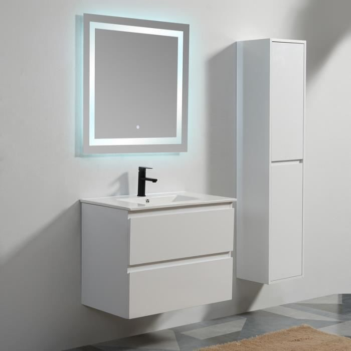 Meuble de salle de bain 2 Tiroirs - MDF 19 mm - Blanc - Vasque - Miroir LED - 80x46 cm - City