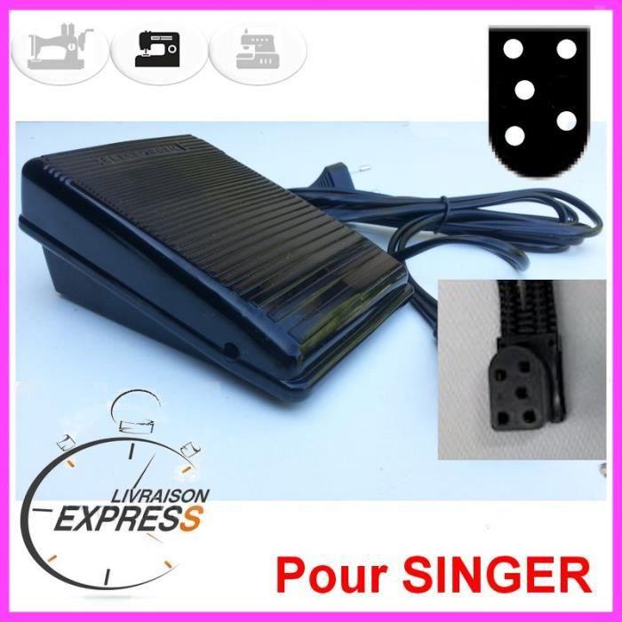 Pédale Rhéostat, pédalier de Machine à Coudre 5 Trous (5T) en forme de -D- SINGER Athena, Touch Tronic, Starlet...