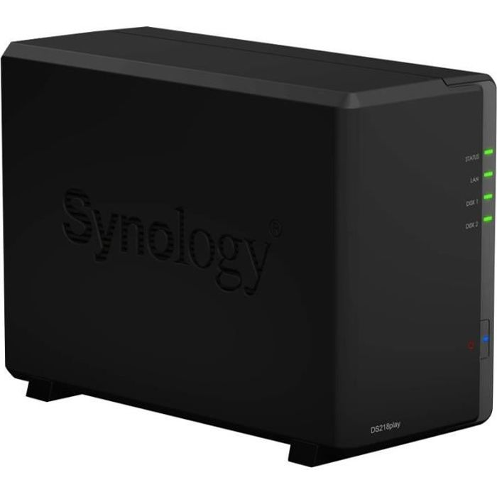 SYNOLOGY - Serveur de Stockage (NAS) - DiskStation DS218play - 2 Baies 1 Go Noir - Boitier nu
