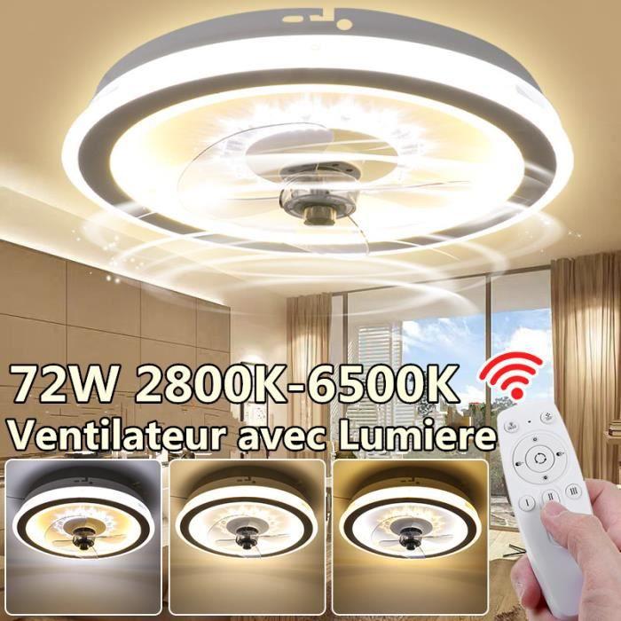 72W Ventilateur de plafond avec télécommande lumiere plafonnier dimmable 3 couleurs 220V
