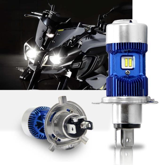 Moto Ampoule Lampe H4/HS1/P43t Phare LED Hi /Lo Faisceau Winpower 360 ° Xenon Blanc 4000lm pour Harley Honda Yamaha Suzuki Kawasaki