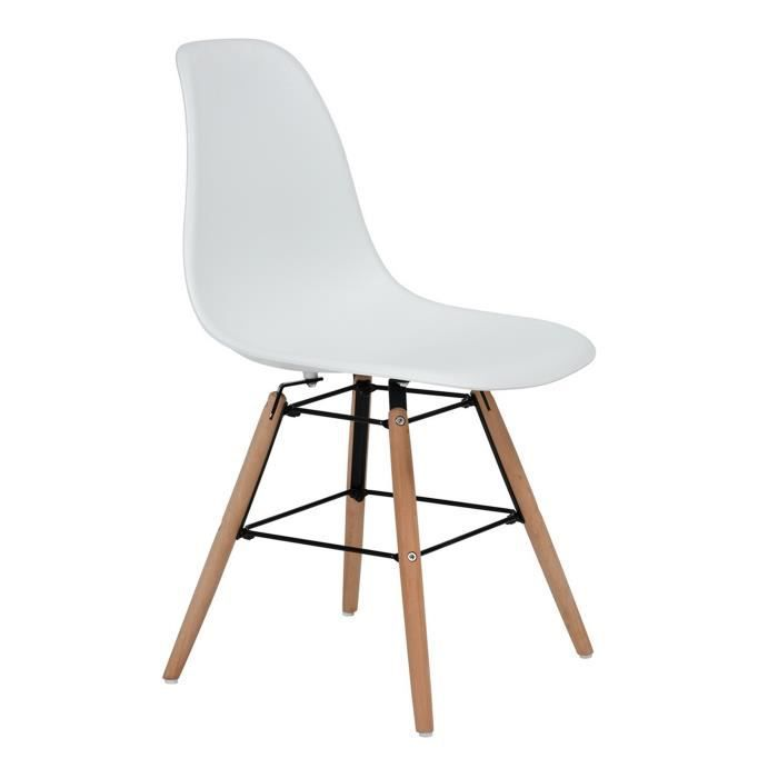 CHAISE Lot De 4 Nordique Chaises Style Scandinave Blanc