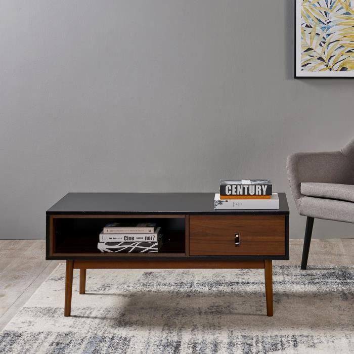 Table basse de salon en bois moderne style contemporain noyer noir  Versanora Reno VNF-00063