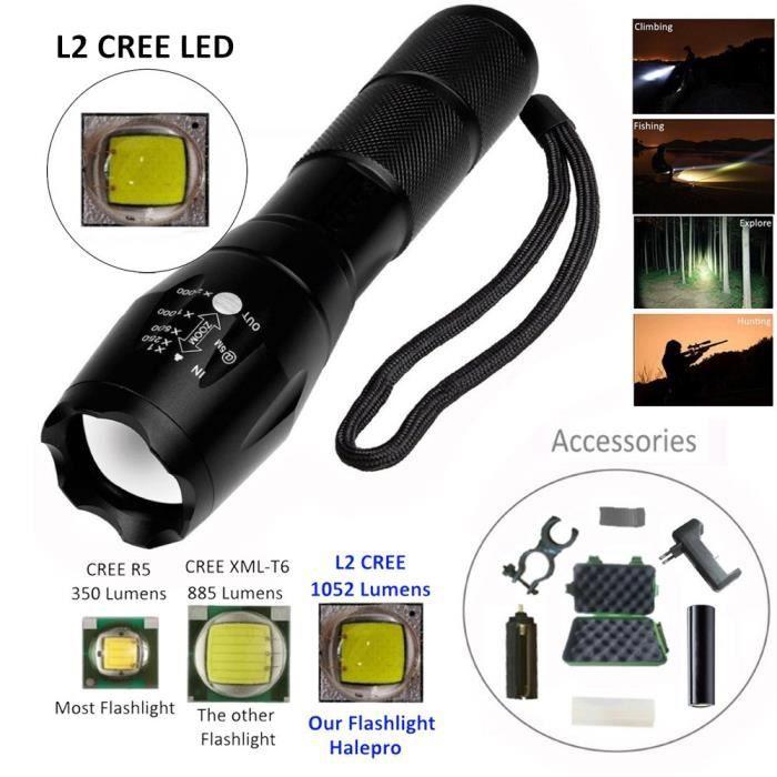 18650 Batterie support vélo Tactique Zoomable 5 Modes T6 DEL Lampe Torche Chargeur