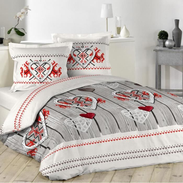 housse de couette coeur style montagne 2 taies 240 x 260 tons cru rouge 100 coton 57. Black Bedroom Furniture Sets. Home Design Ideas