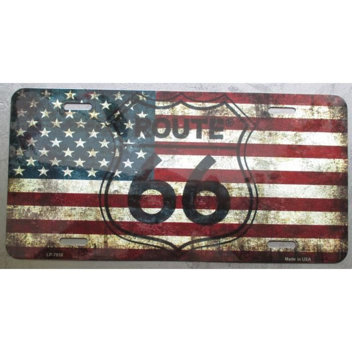plaque publicitaire route 66 immatriculation americaine metal achat vente objet d coration. Black Bedroom Furniture Sets. Home Design Ideas