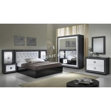 chambre coucher model kristel noir blanc achat vente. Black Bedroom Furniture Sets. Home Design Ideas