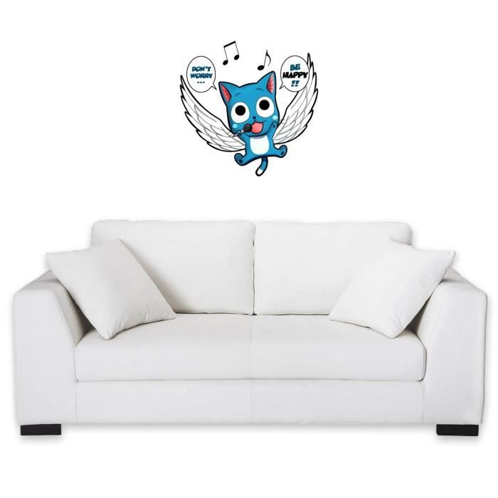sticker mural 60 cm manga parodie fairy tail don t worry be happy achat vente. Black Bedroom Furniture Sets. Home Design Ideas