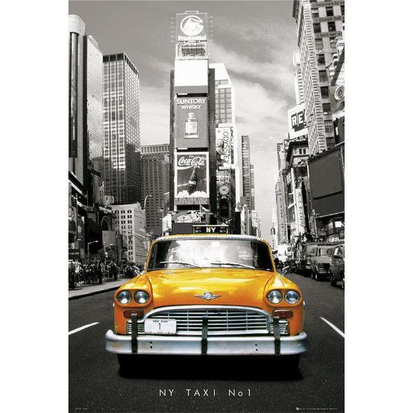 affiche taxi jaune new york maxi 61 x achat vente affiche cdiscount. Black Bedroom Furniture Sets. Home Design Ideas