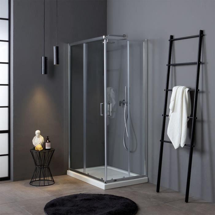Cabine de douche en Verre Transparent 6 mm-2 Cotes-ouverture coulissante-70 x 100 cm H 190 cm