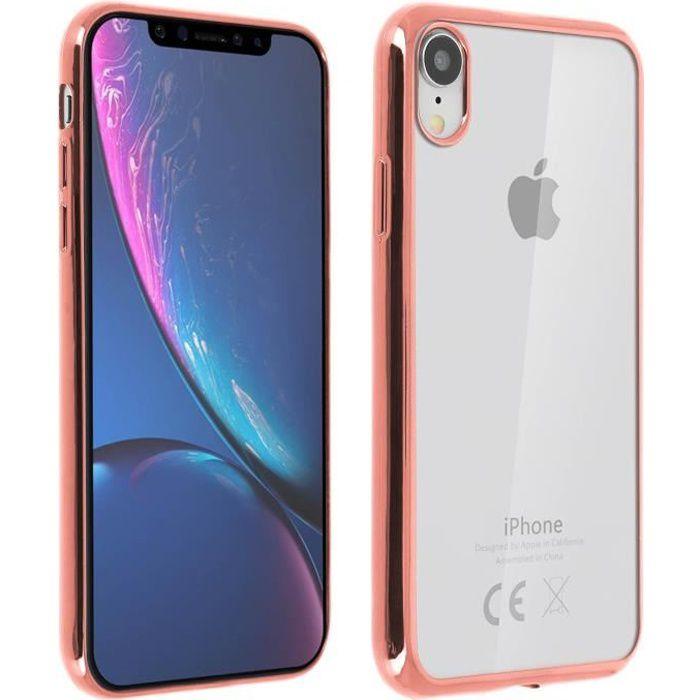 Coque iPhone XR Protection Silicone Gel transparent contour - Rose ...