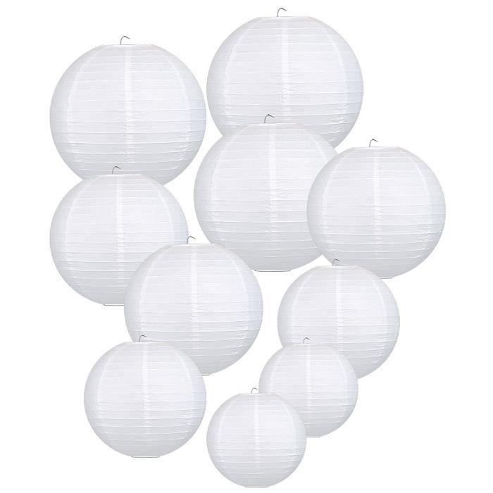 Lanterne Papier Boule pour D/écoration de Mariage Maison Lampion Papier Blanc LIHAO 12 Lot de 10 pi/èces 30cm F/ête etc.