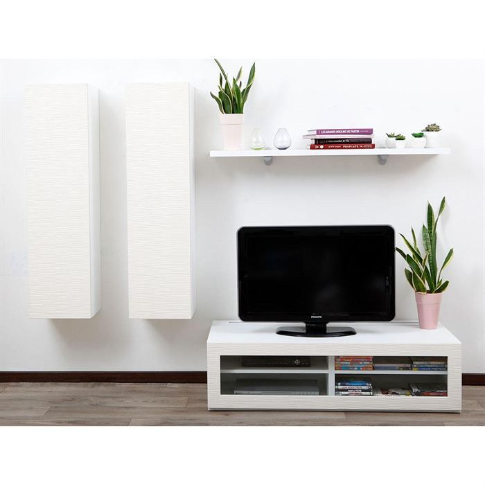 Ensemble mural tv design blanc yris by symbiosis achat for Installer un meuble mural