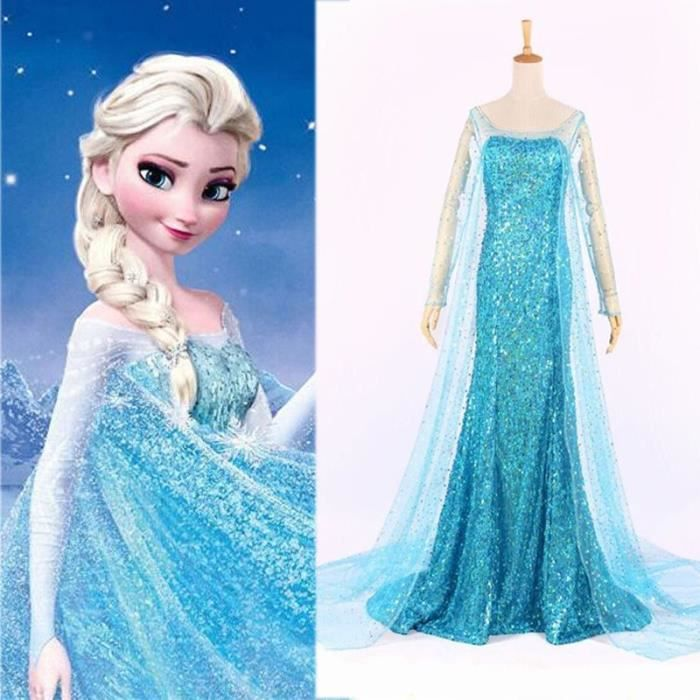 robe femmes d guisement adulte costume l gante cosplay princesse reine des neiges elsa cadeau. Black Bedroom Furniture Sets. Home Design Ideas