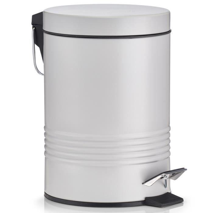 poubelle à pédale Zeller, de 3 litres, métal, gris, couleur: vert menthe  poivrée