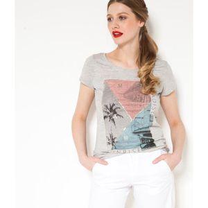 T-SHIRT Camaïeu - T-shirt femme imprimé - TSUMMER GRIS CLA