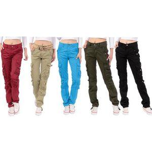 PANTALON Pantalon Cargo Femme Straight Multi-poches Pantalo